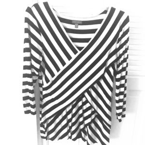 Vince Camuto Black and White Striped Draped Blouse
